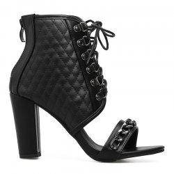 Curbed Chain Chunky Heel Bootie Sandals -