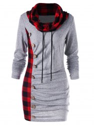 Plaid Trim Cowl Neck Tunic Sweatshirt Dress -