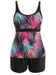 Plus Size Ombre Leaf Print Tankini Set -
