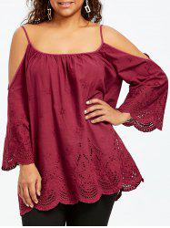 Plus Size Openwork Dew Shoulder Blouse -