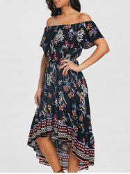 Print Off The Shoulder Casual Dress -