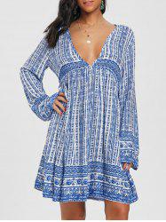 Long Sleeve Low Cut Print Dress -