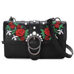 Round Buckled Floral Embroidery Crossbody Bag -