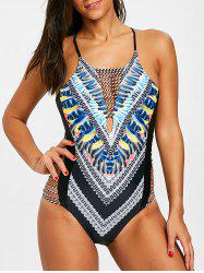 Feather Print Backless Criss Cross Swimsuit -