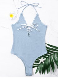 One Piece Scalloped Halter Swimwear with Lace Up -