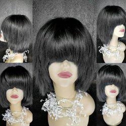 Medium Full Bang Straight Synthetic Fiber Wig -
