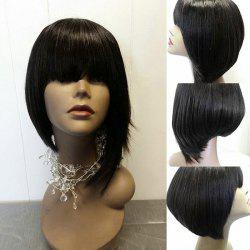 Short Neat Bang Asymmetric Straight Synthetic Wig -