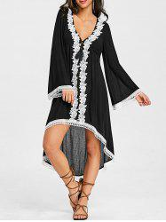 Flare Sleeve Applique High Low Boho Dress -