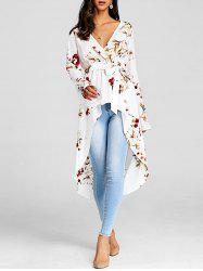 Floral Print High Low Long Blouse -