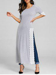 Lace Panel High Split Maxi Tee -
