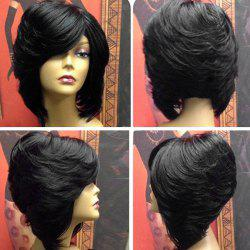 Short Upwards Layered Side Bang Straight Feathered Inverted Bob Synthetic Wig -