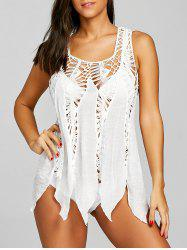 Crochet Panel Asymmetrical Cover Up -