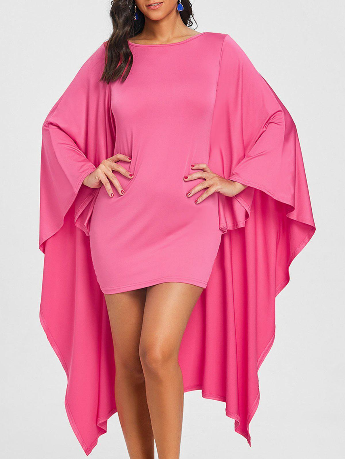 Online Batwing Sleeve Capelet Bodycon Dress