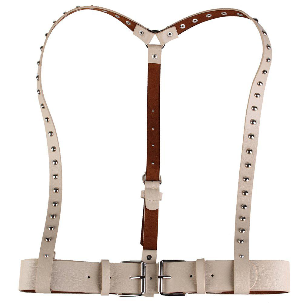 Discount Vintage Rivet Embellished Punk Harness Faux Leather Belt