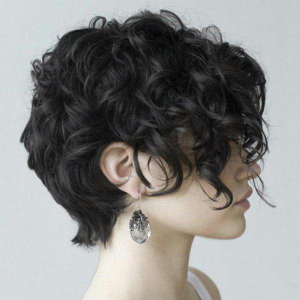 Best Short Side Bang Fluffy Curly Synthetic Wig