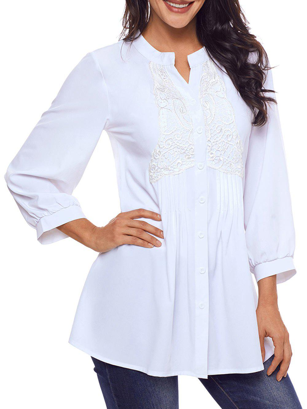 Store Split Neck Lace Panel Pintuck Tunic Blouse