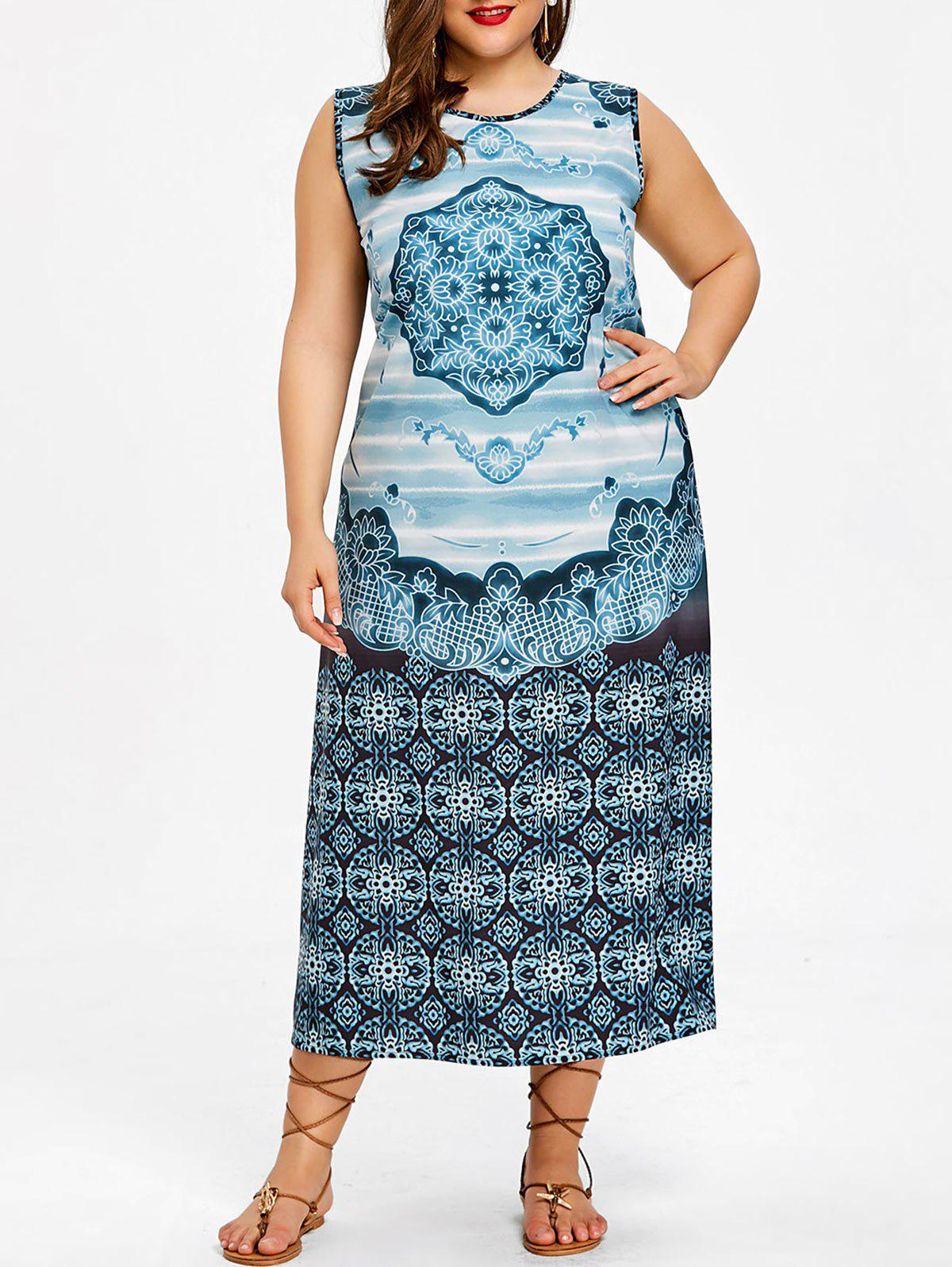 Online Plus Size Ethnic Self Tie Sleeveless Dress