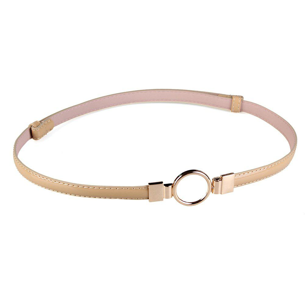 Hot Simple Metal Round Buckle Decorated Skinny Belt