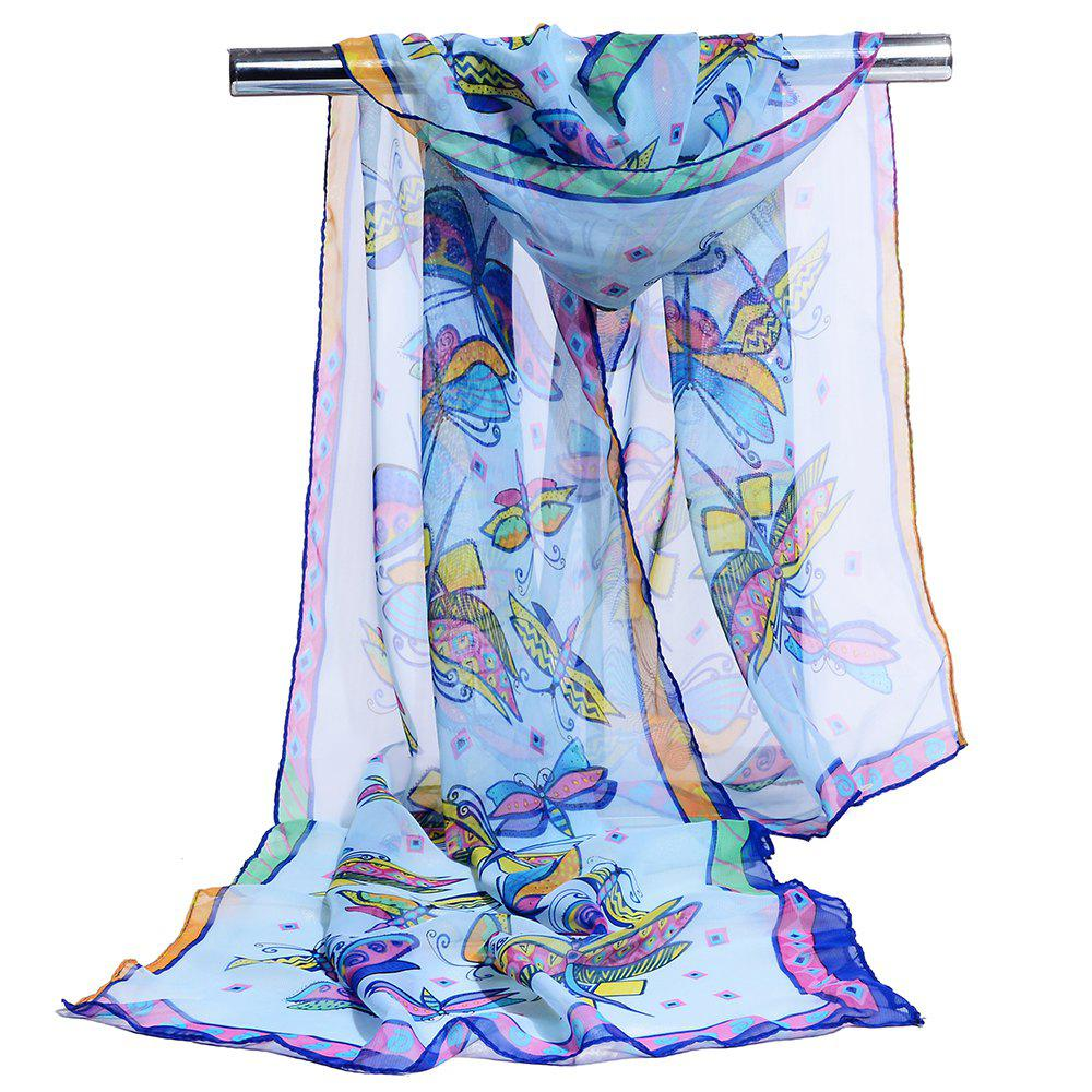 Cheap Flying Butterfly Pattern Printed Silky Scarf