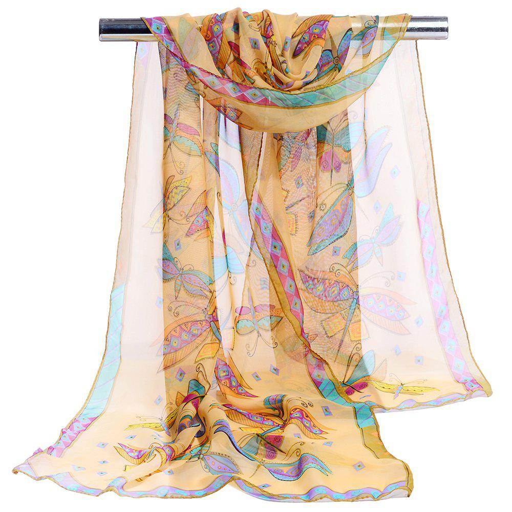 New Flying Butterfly Pattern Printed Silky Scarf