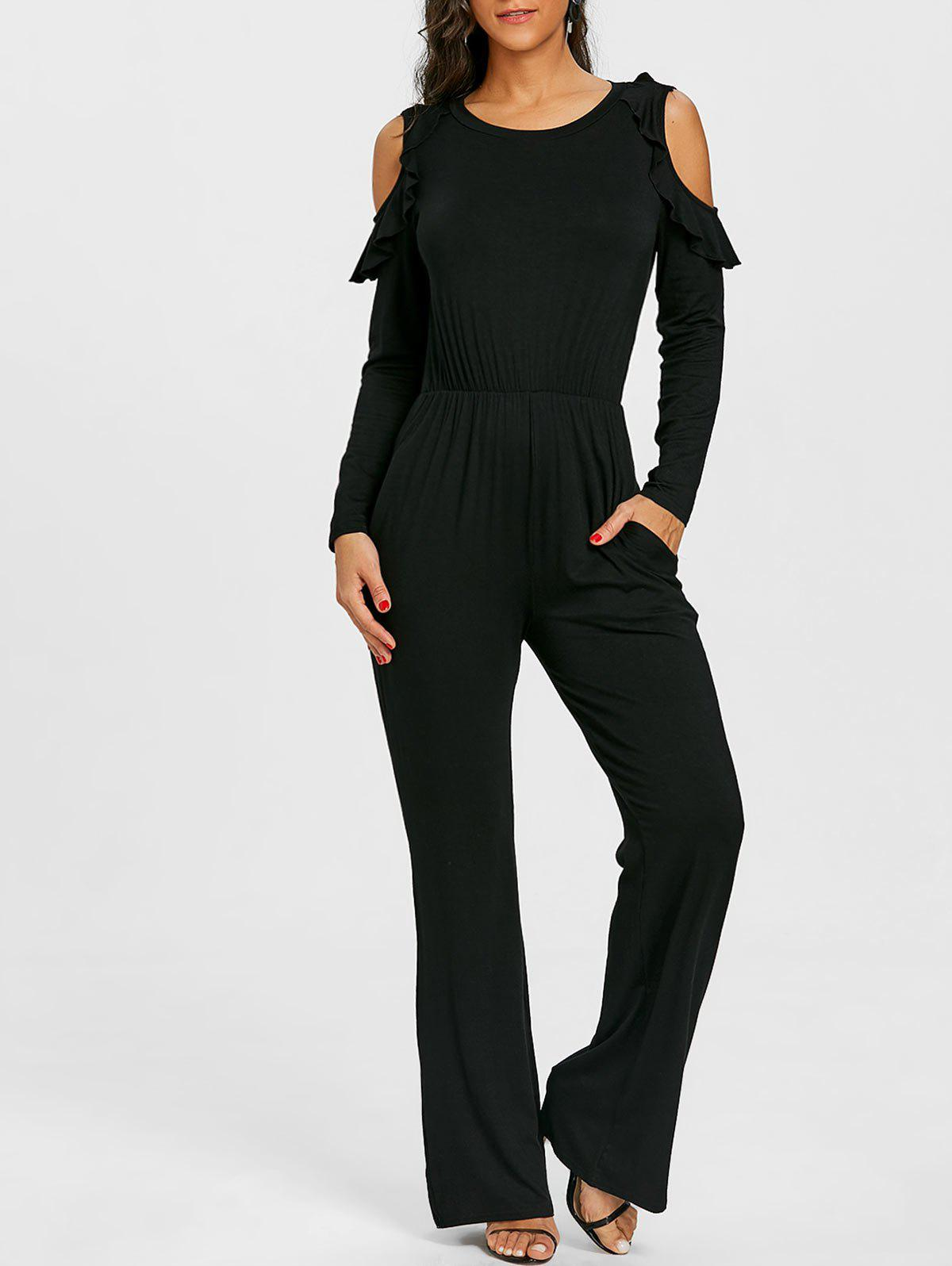 Sale Cold Shoulder Wide Leg Jumpsuit