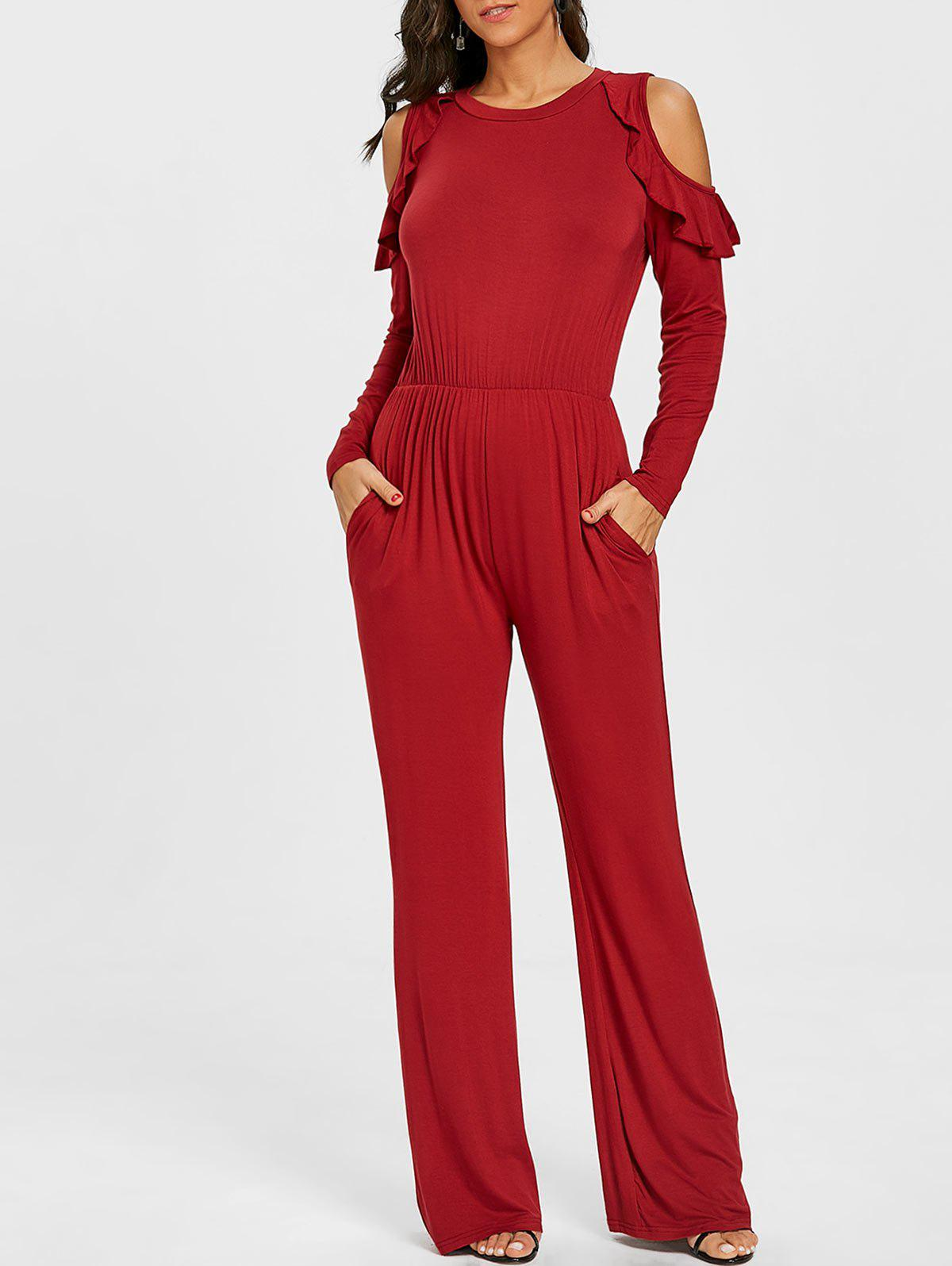 Cheap Cold Shoulder Wide Leg Jumpsuit