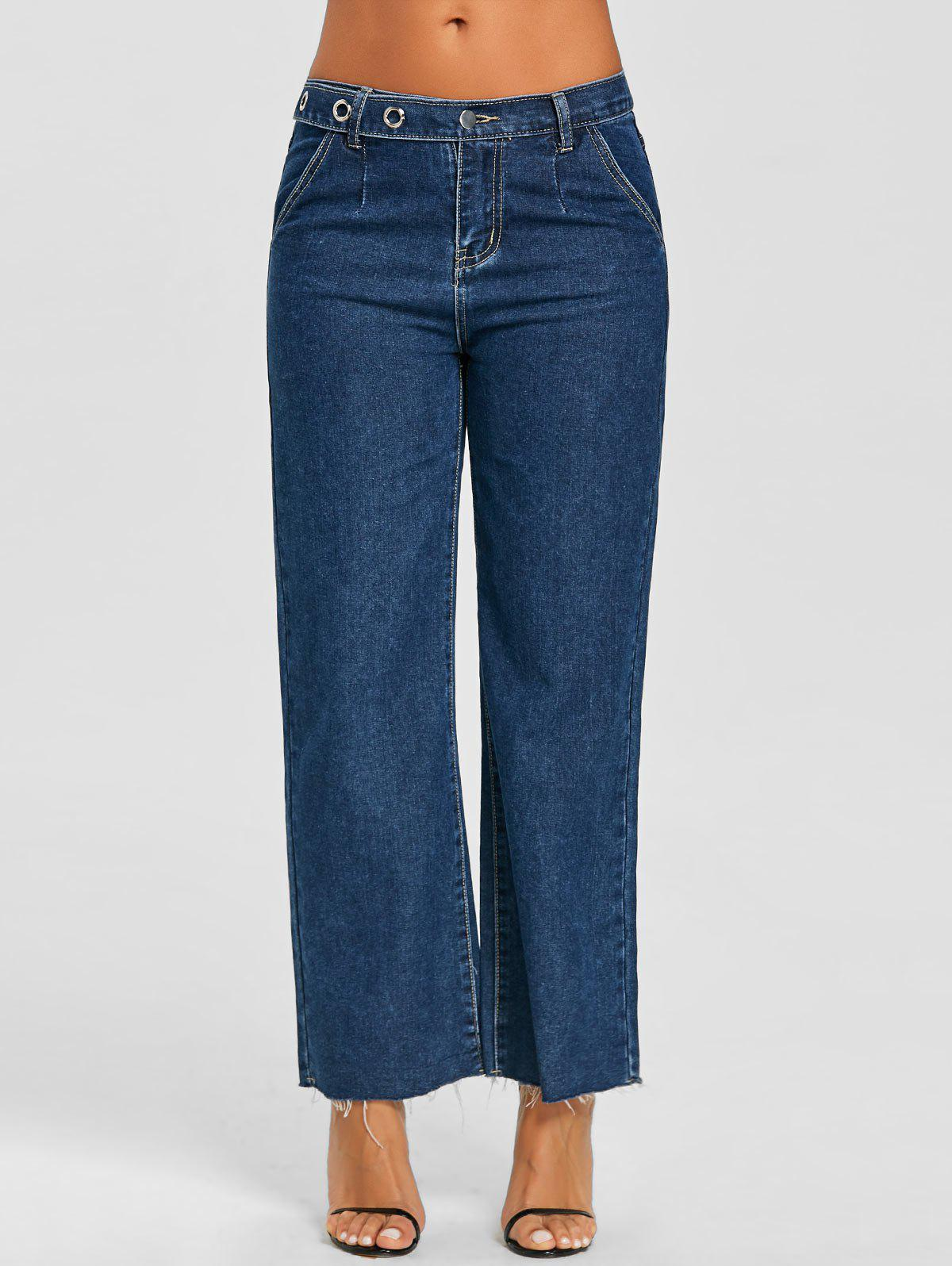 Outfit Eyelet Raw Hem Wide Leg Jeans