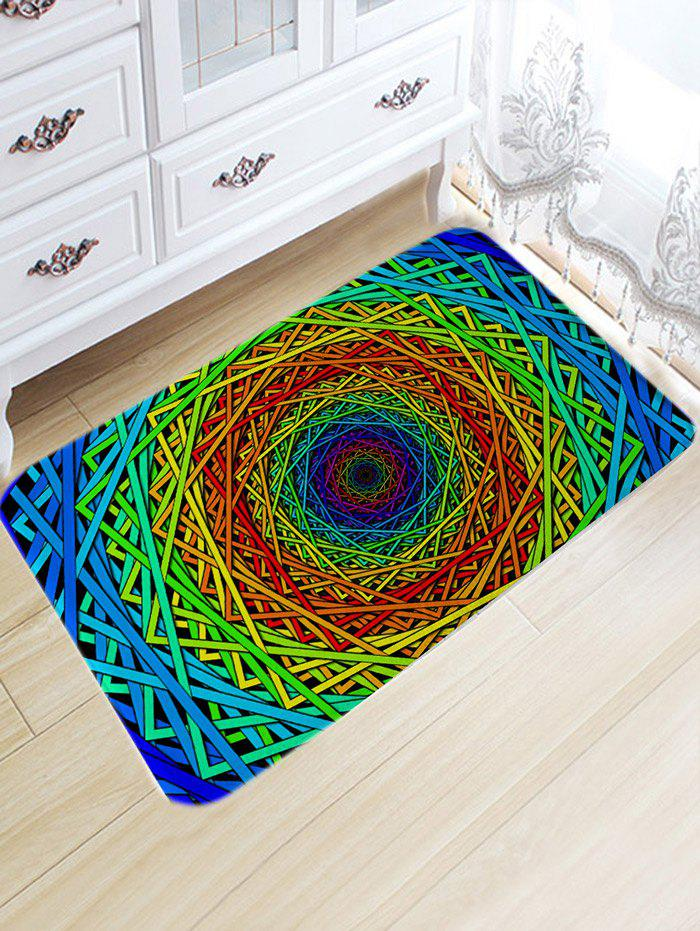 Trendy Abstract Psychedelic Geometric Water Absorption Bath Rug