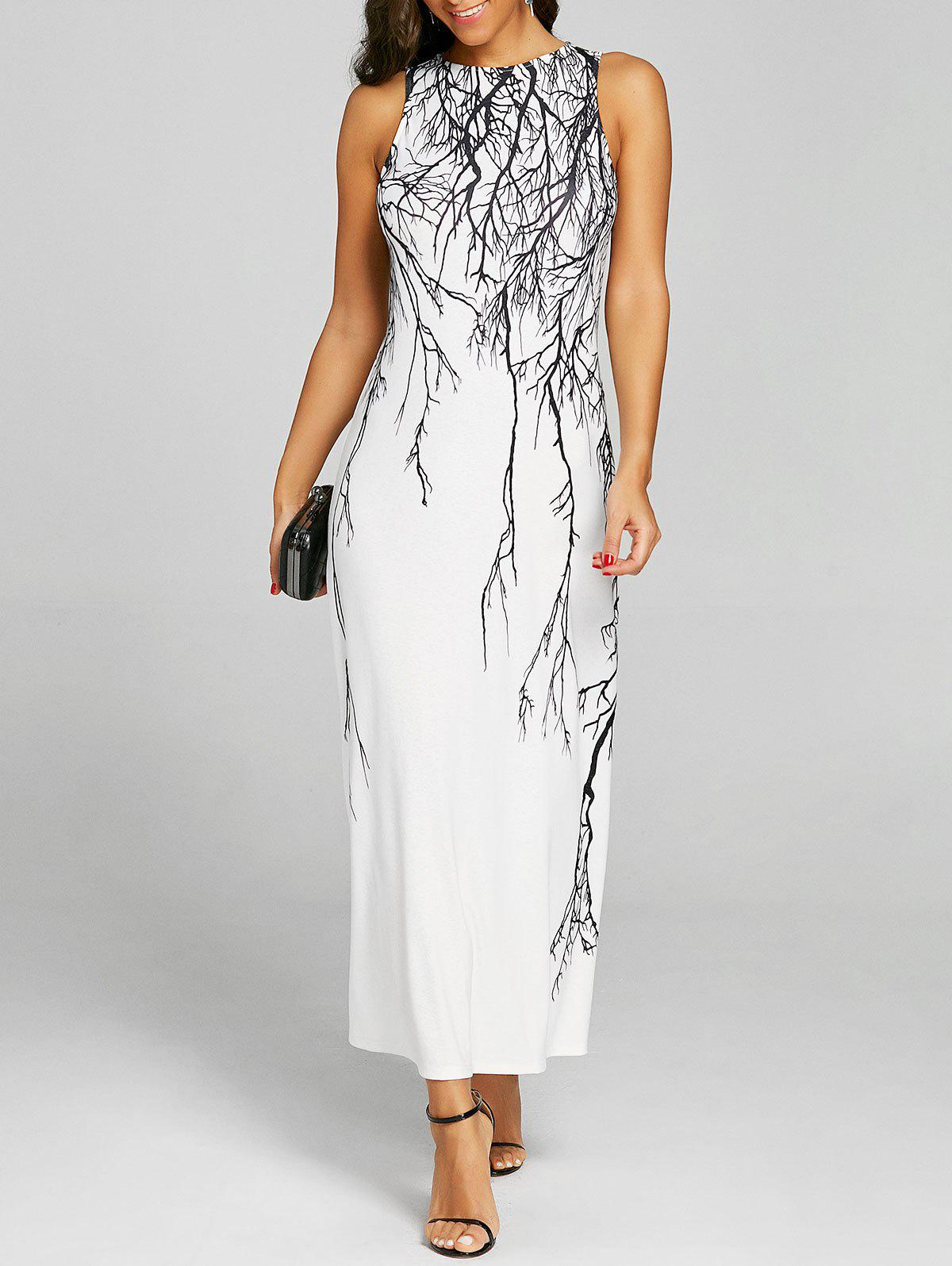 New Branch Print Long Prom Dress