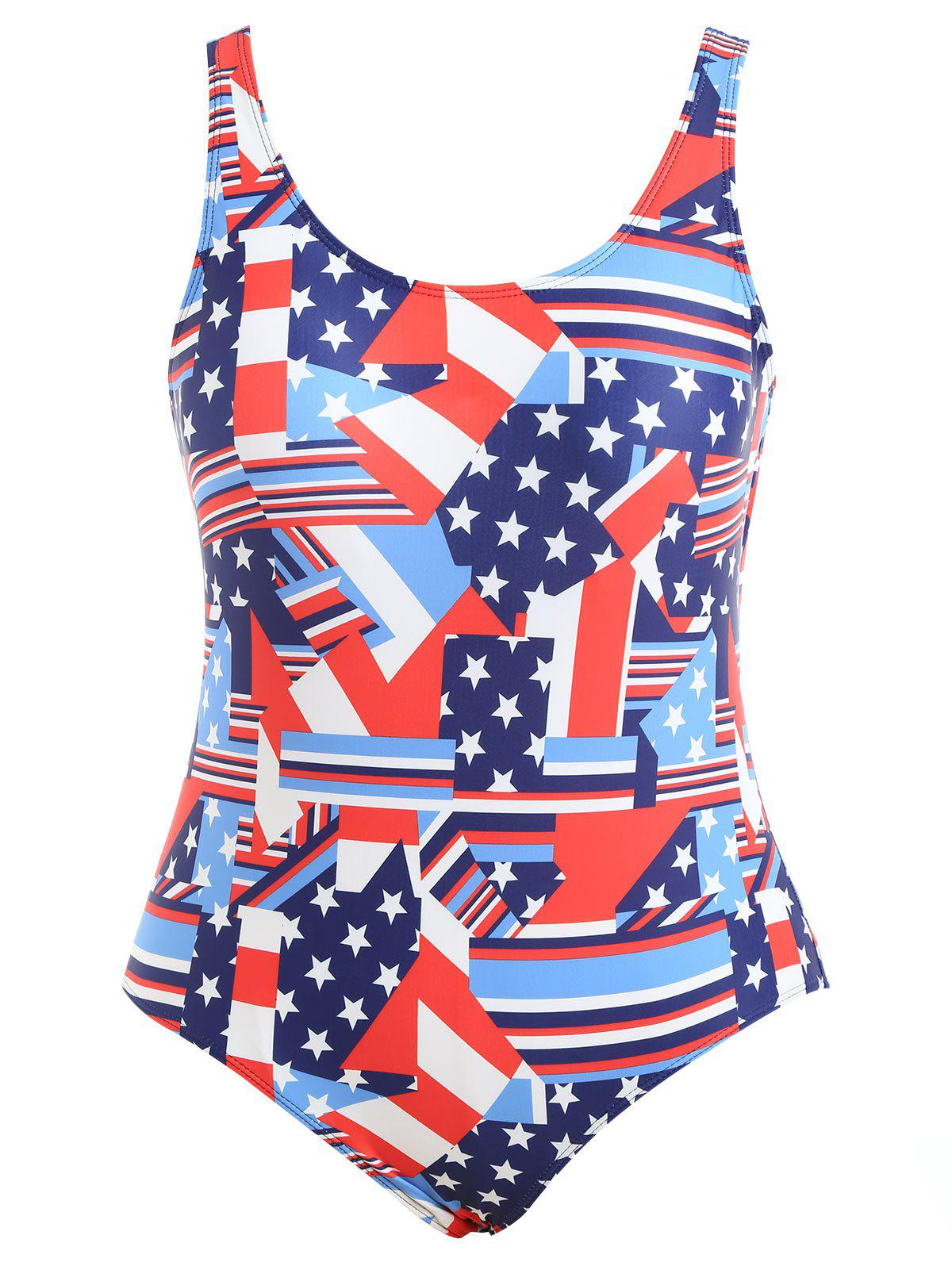 Fashion Plus Size Patriotic American Flag Swimsuit