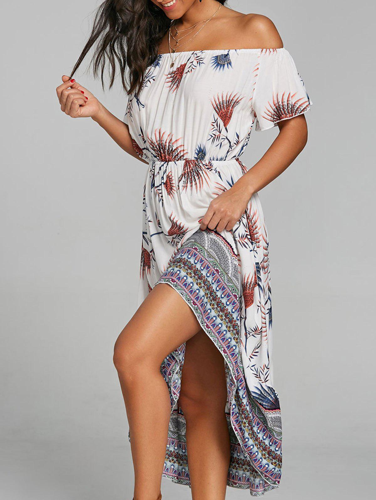 Outfit Print Off The Shoulder Casual Dress