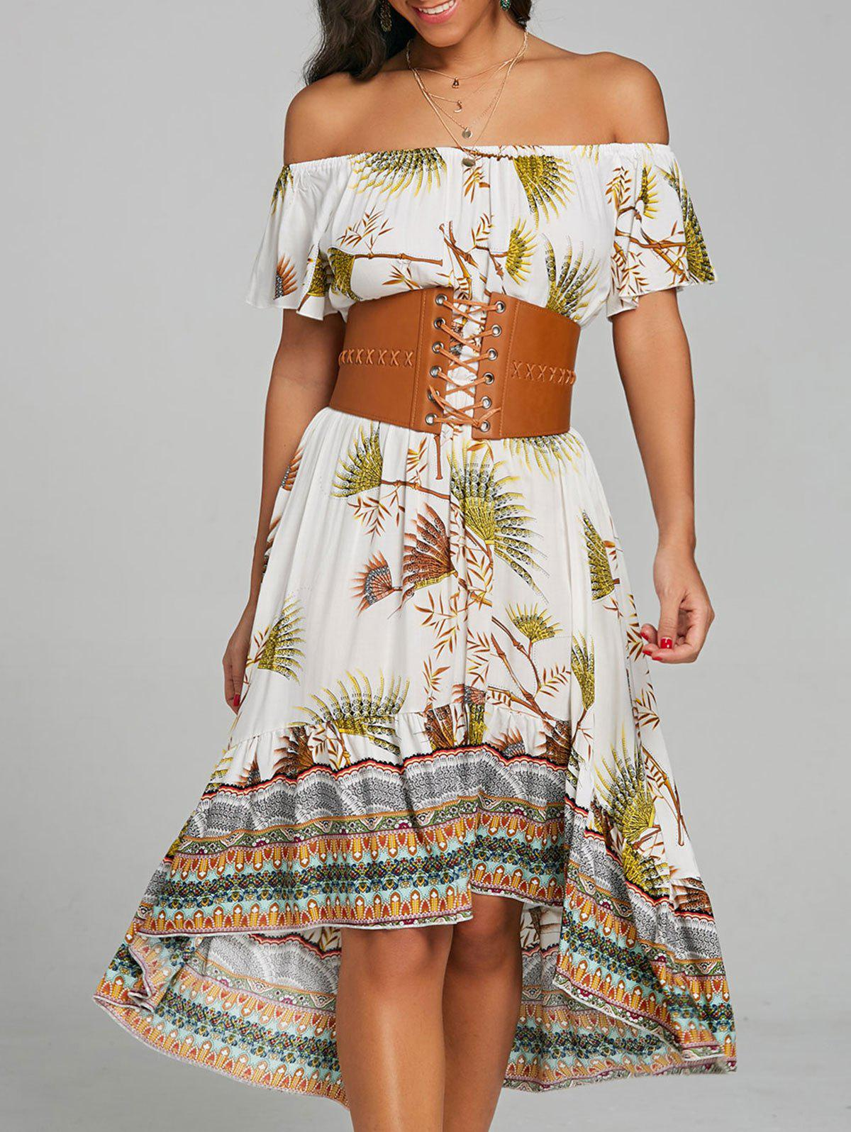 Buy Print Off The Shoulder Casual Dress