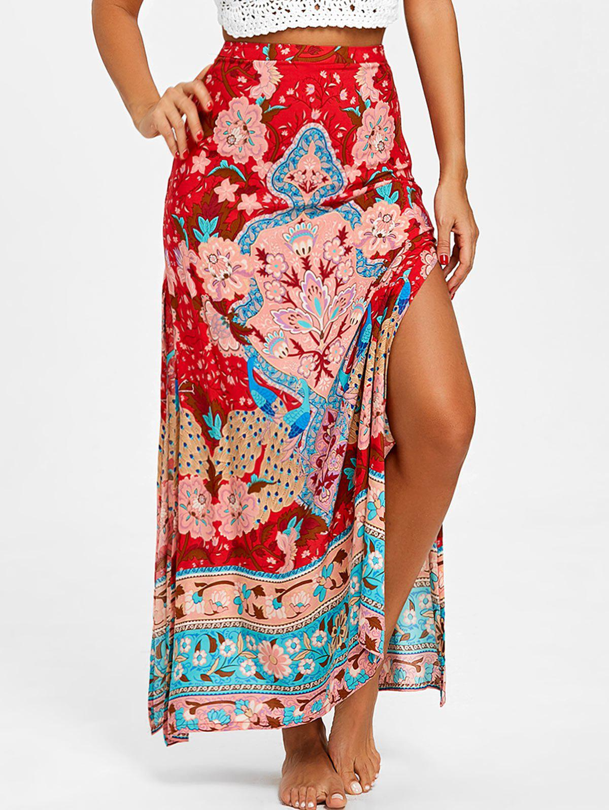 Affordable Bohemian Flower Print High Slit Skirt