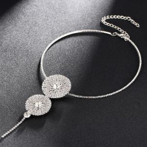 Disc Shape Shiny Rhinestone Statement Necklace Earrings -