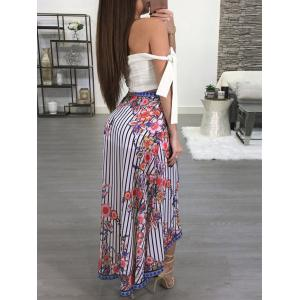 Striped Floral Print High Low Skirt -