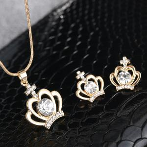 Simple Rhinestone Crucifix Crown Necklace and Earring Set -