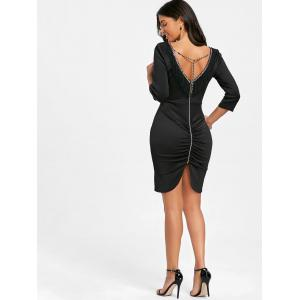 V Шея Fringe Chain Bodycon Платье -