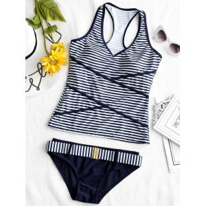 V Neck Stripe Racerback Tankini Swimsuit -