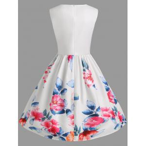 Plus Size Flower Print Sleeveless Dress -