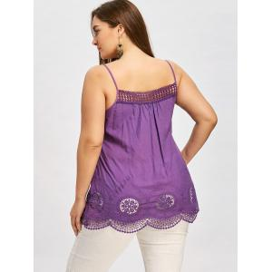 Plus Size Embroidery Scalloped Edge Tank Top -