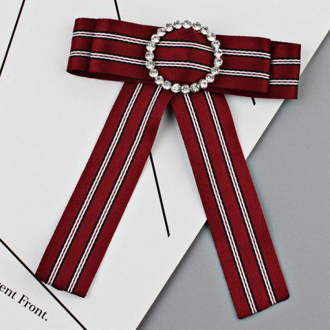 Shop Faux Crystal Striped Bowknot Shirt Tie Brooch