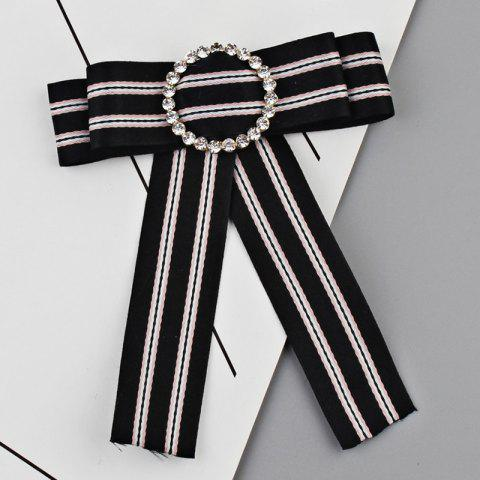 Discount Faux Crystal Striped Bowknot Shirt Tie Brooch