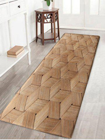 Chic Basket Weave Pattern Water Absorption Nonslip Bath Rug