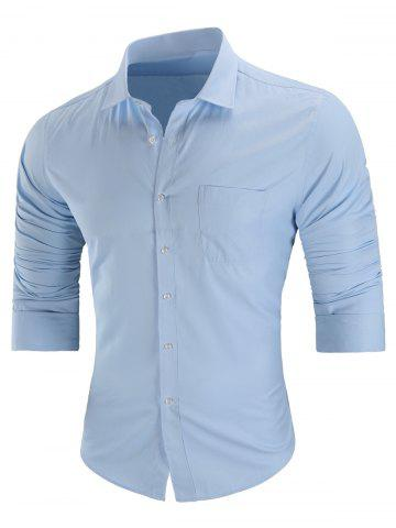Chest Pocket Casual Long Sleeve Shirt