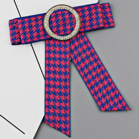 Outfit Houndstooth Bowknot Faux Crystal Necktie Brooch