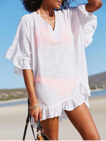 Shops See Through Ruffle Trim Beach Cover Up
