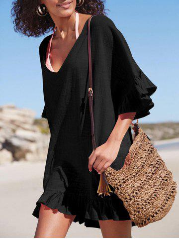 Trendy See Through Ruffle Trim Beach Cover Up