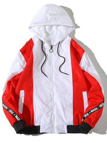 Cheap Color Block Hooded Windbreaker Jacket