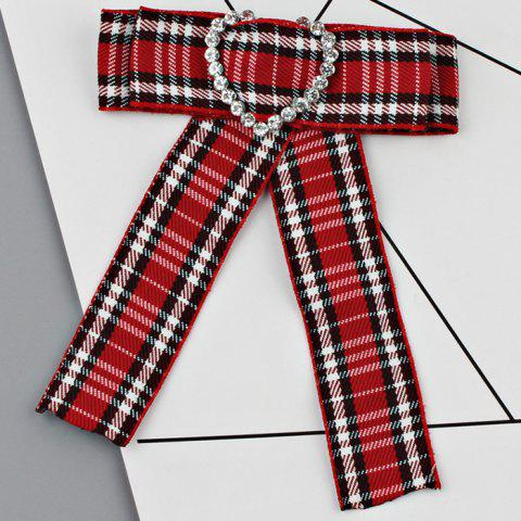 Sale Heart Faux Crystal Plaid Bowknot Shirt Tie Brooch