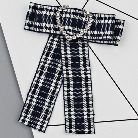 Сердце Faux Crystal Plaid Bowknot Shirt Tie Brooch